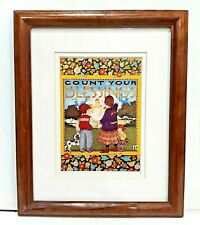 "Mary Engelbreit Wood Framed And Double Matted Print "" Count Your Blessings """