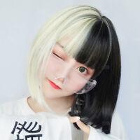 Fashion Black White Short Straight Hair Full Cosplay Lolita Party Wigs Japanese