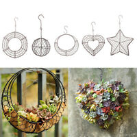 Wrought Iron Flower Wreath Wire Round Succulent Basket Hanging Wall Xmas Decor