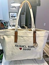 Michael Kors City Tote in Stencil Script Natural Canvas w Detatchable Pouch NWT