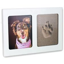 Pfotenabdruck 3D Set Formschaum Hund, Katze Bilderrahmen aus Holz in weiß