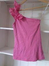 KOOKAI Sz 2 (8-10) Pink One Shoulder Top with Silk Ruffle Trim VGC