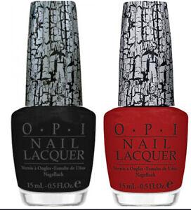 OPI Nail Lacquer Red Shatter E55 and Black Shatter E53 -  2 Full Size Bottles