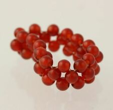 New Beaded Ring - Red Agate Stretch Mesh Band Women's Size 7+