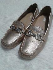 GEOX Respira Rose Gold Metallic Leather Horsebit Gem Sz 8 Women Loafer Moccasin
