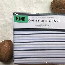 TOMMY HILFIGER Blue/Multi Color White Striped KING Easy Care Sheet Set