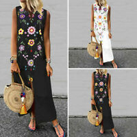 Womens Summer Floral Strappy Bohemia Party Cocktail Dresses Long Dress Plus Size