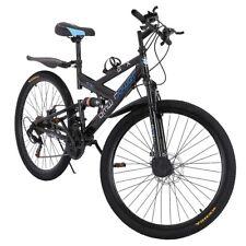 26in Carbon Steel Mountain Bike 21Speed Bicycle Full Suspension Tolan Disc Brake