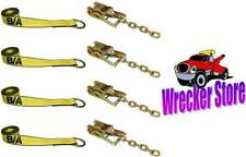 Qty. 4, ROLLBACK CARRIER SPORTS CAR Damage Free TIE DOWN STRAPS and RATCHETS