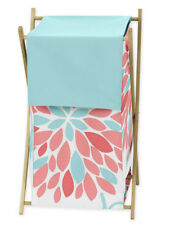 Kids Baby Clothes Laundry Hamper For Sweet Jojo Turquoise & Coral Flower Bedding