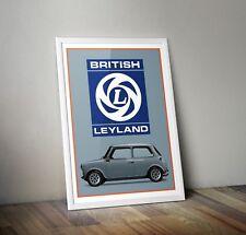 British Leyland classic Mini Retro Poster/ Print Artwork. Car art - A3