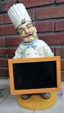 Large Figurine French Italian Fat Bistro Chef Menu Chalkboard Kitchen Catering