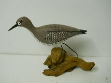 Hand Made Hand Painted Sandpiper Bird Sculpture Drift Wood Shore Beach Stilt