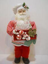 "Handmade Porcelain Head Hands Fabric Doll Santa St Nick 19"" Christmas Treats"