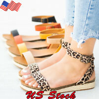 Women Summer Casual Sandals Leopard Print Weaving Ladies Ankle Strap Beach Shoes