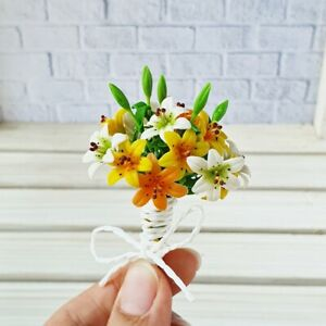 Dollhouse Miniatures Clay Flowers Lily Bouquet Handmade Gifts Decoration Supply