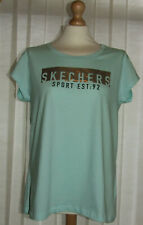 Sketchers Ladies Aqua & Silver Printed T-Shirt Top Size 16