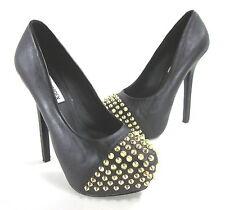 Steve Madden MUJER Bolddd Zapatos de Plataforma Cuero Negro Talla USA 6.5