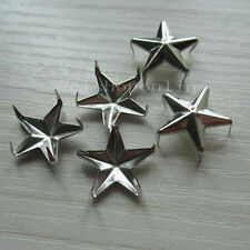 100 Star Stud Shape Nickel Spike Biker Punk Rock Spot Nailhead leather 12mm 1/2""