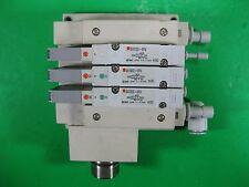 SMC Manifold 3 Ports with (1x) SV2100-5FU, (2x) SV2200-5FU (1 Set) -- Used --
