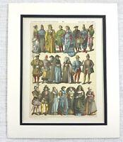 1895 Antico Stampa Olandese Fiammingo Costume Abito Moda 15th Secolo Europa