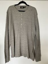 Ralph Lauren Double RL RRL Thermal Waffle Knit Cotton Cool Grey Henley Size XXL