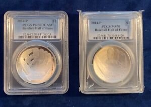 2014-P BASEBALL HALL OF FAME SILVER DOLLAR, PAIR, CERTIFIED PCGS MS70 & PR70DCAM