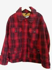 Woolrich Vintage Mens Red Plaid Cotton Lined Wool Blend Hunting Coat Sz LG