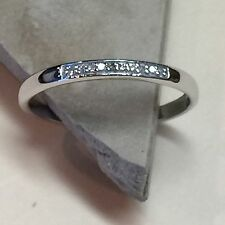 Natural Diamond 925 Solid Sterling Silver Band Ring sz 5.75