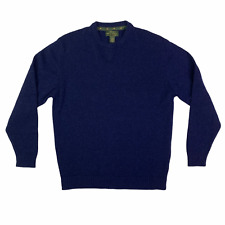 Orvis Sweater Mens Large Blue Lambswool Cashmere Signature Collection Pullover