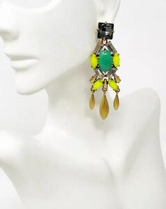 """NIB Stella & Dot """"Jardin"""" Smoky Gray Crystal Yellow/Green Chandelier Earrings"""