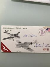 More details for german aces ww2 me262 me109 usa stamp kutzner&koerner luftwaffe aces signed fdc
