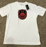 Men's SZ Medium UNDER ARMOUR UA Heatgear Basketball  T-Shirt White/Red/Black