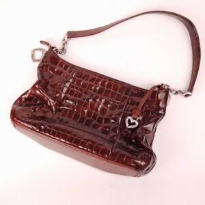 Brighton Patent Leather Shoulder Bag Purse Red Moc Croc