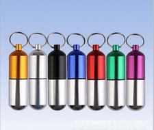 Mini Waterproof Novelty Aluminum Pill Box Case Bottle Holder Container Keychain