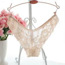 Sexy Women Brief Panties Lace Underwear Transparent Lingerie Thongs Plus Size TS