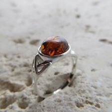 Size 7 1/2, Size O 1/2, Size 56, Genuine, Cognac Baltic Amber Ring Silver #0657