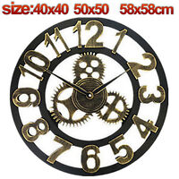 40/50/58cm Large Round Wall Clock Vintage Wooden luxury Art Design Vintage