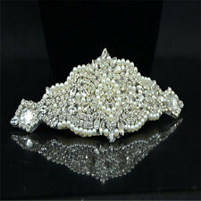 1 Piece Chain Pearl & Silver Tone Clear Rhinestones Crystal Sewing Trim Crafts
