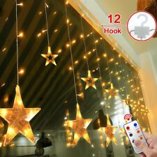 2m LED String Fairy Lights Curtain Net Wall Lamp 12 Stars Wedding Xmas Decor