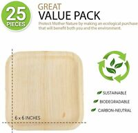 25 Pack 6'' Square Palm Leaf Plates Bamboo Disposable Heavy Duty Biodegradable