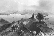 China, Hong Kong Harbour Junk Sailboats Ships ~ 1842 Art Print Engraving Rare !