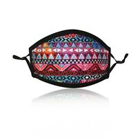 Ladies Pink Aztec Cotton Face Mask Washable Reusable Adjustable Double Layer