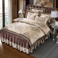 4Pcs Satin Jacquard Lace Bedding Sets King Size Duvet Cover Set Bed Skirt Set
