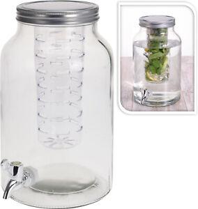 4 Litre Glass Drink Dispenser with Infuser Tap & Lid Fruit Herb Juice Beverage