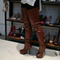 Gothic Women Thigh High Boots Platform Leather High Heels Boots Shoes Zipper