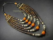 N4193 Tribal strand glass amber resin bone bead BOHO gypsy NECKLACE Runway TIBET