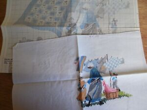 """Dimensions Cross Stitch #3611 PARTIALLY COMPLETED PROJECT """"Amish Breezy Day"""""""