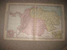 Antique 1898 Colombia Venezuela South America Map Panama Canal Caracas Detailed