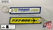 **New** Ryanair crew tag key chain ring Boeing 737-800 pilot embroidered - rare!